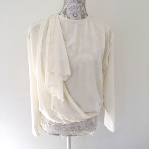 Vintage Cream Peasant Shirt - Small